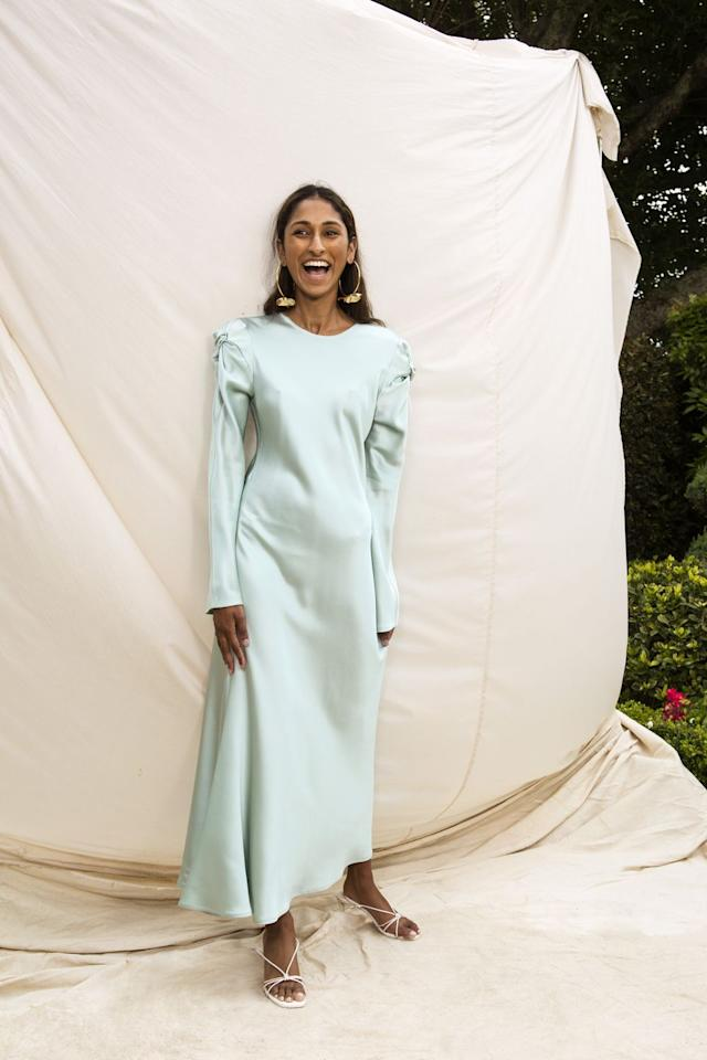 """<p><a class=""""body-btn-link"""" href=""""https://maggiemarilyn.com/"""" target=""""_blank"""">MORE</a></p><p>""""I think it's becoming increasingly important to know who is making our clothes,"""" designer Maggie Hewitt from Maggie Marilyn <a href=""""https://www.harpersbazaar.com/uk/fashion/fashion-news/a28506419/maggie-marilyn-interview/"""" target=""""_blank"""">previously told us</a>. """"Those people are as much a part of our lives as we are theirs."""" </p><p>Transparency is key when it comes to sustainability, a policy the label lives by. The designer is always vocal about who makes her collections, where materials are sourced and what the supply chain looks like.</p>"""