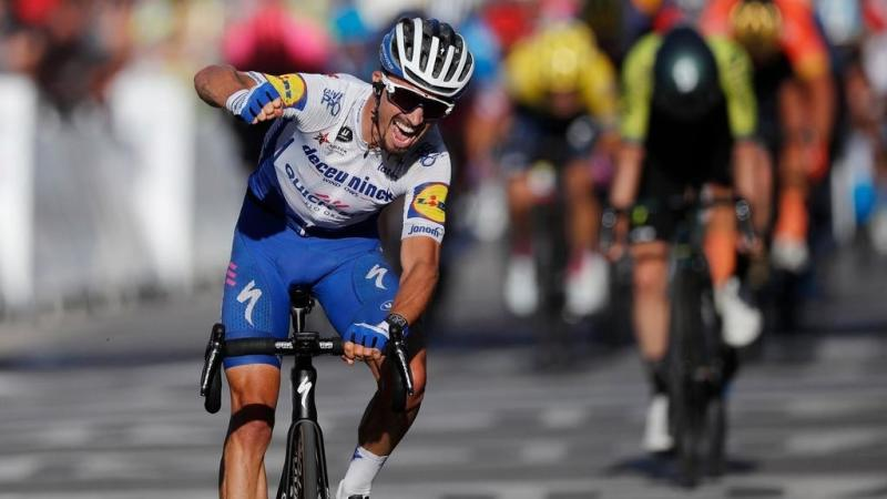 Frenchman Alaphilippe wins Tour de France second stage, takes yellow jersey