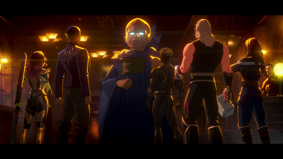 The Watcher (Jeffrey Wright) addresses the Guardians of the Multiverse in What If...? (Screenshot: Disney+)