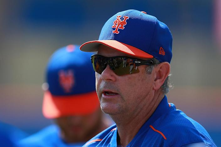 <p>New York Mets minor league pitching coordinator Ron Romanick gives instructions to young pitchers at the New York Mets spring training facility in Port St. Lucie, Fla., Wednesday, March 1, 2017. (Gordon Donovan/Yahoo Sports) </p>