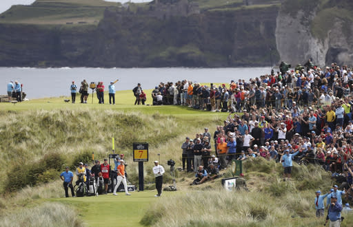 Tiger Woods of the United States tees off the 7th hole during the second round of the British Open Golf Championships at Royal Portrush in Northern Ireland, Friday, July 19, 2019.(AP Photo/Peter Morrison)
