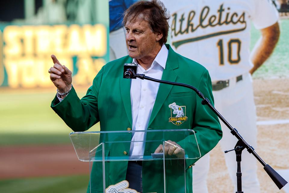 "OAKLAND, CA - SEPTEMBER 21:  Former manager Tony La Russa of the Oakland Athletics stands on the field during the team""u2019s Hall of Fame ceremony before the game against the Texas Rangers at the RingCentral Coliseum on September 21, 2019 in Oakland, California. The Oakland Athletics defeated the Texas Rangers 12-3. (Photo by Jason O. Watson/Getty Images)"