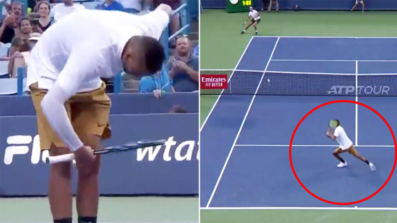Nick Kyrgios took a bow after the extraordinary moment. Image: Tennis TV