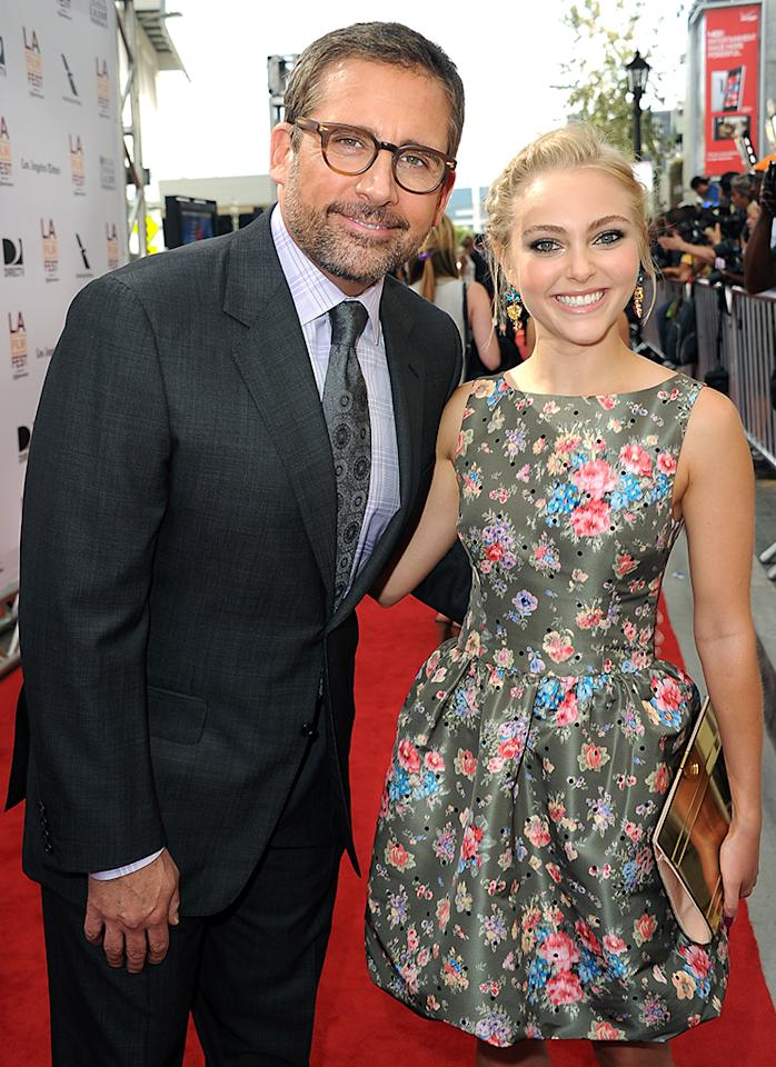 "LOS ANGELES, CA - JUNE 23:  Actors Steve Carell (L) and AnnaSophia Robb attend the premiere of Fox Searchlight Pictures' ""The Way, Way Back"" at Regal Cinemas L.A. Live on June 23, 2013 in Los Angeles, California.  (Photo by Kevin Winter/Getty Images)"