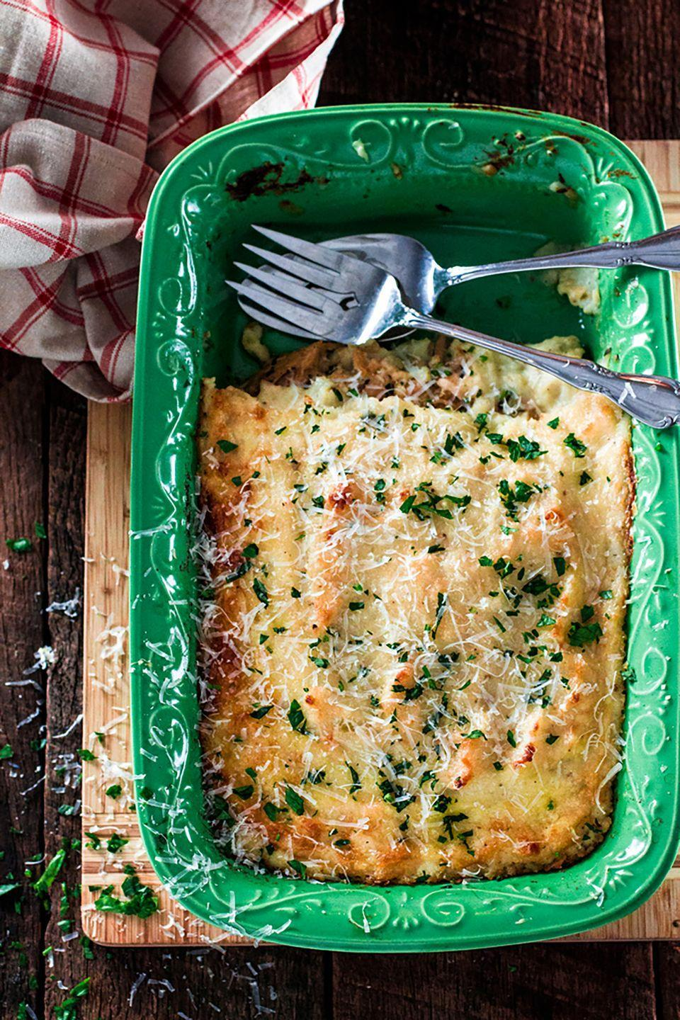 """<p>You'll be doing plenty of cooking on Thanksgiving day. The next morning, feed your whole family without a ton of prep time. </p><p><strong>Get the recipe at <a href=""""http://www.oliviascuisine.com/turkey-and-mashed-potatoes-casserole/"""" rel=""""nofollow noopener"""" target=""""_blank"""" data-ylk=""""slk:Olivia's Cuisine"""" class=""""link rapid-noclick-resp"""">Olivia's Cuisine</a>. </strong></p><p><a class=""""link rapid-noclick-resp"""" href=""""https://www.amazon.com/Tramontina-80114-535DS-Professional-Restaurant/dp/B009HBKQ16/?tag=syn-yahoo-20&ascsubtag=%5Bartid%7C10050.g.2144%5Bsrc%7Cyahoo-us"""" rel=""""nofollow noopener"""" target=""""_blank"""" data-ylk=""""slk:shop skillets"""">shop skillets</a><br></p>"""