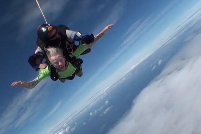 Fearless pensioner celebrates turning 80 by skydiving from 10,000ft