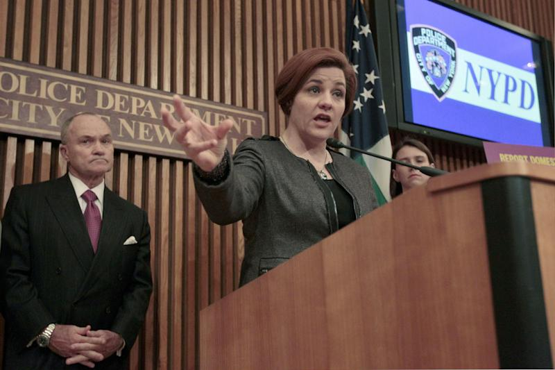 "FILE- In this May 8, 2012 file photo, New York City Council Speaker Christine Quinn, right, is joined by Police Commissioner Raymond W. Kelly during a news conference at Police headquarters in New York. On Tuesday, March 19, 2103, Quinn stated that city lawmakers have reached ""broad agreement"" on a plan to create an inspector general to oversee the New York Police Department. (AP Photo/Mary Altaffer, File)"