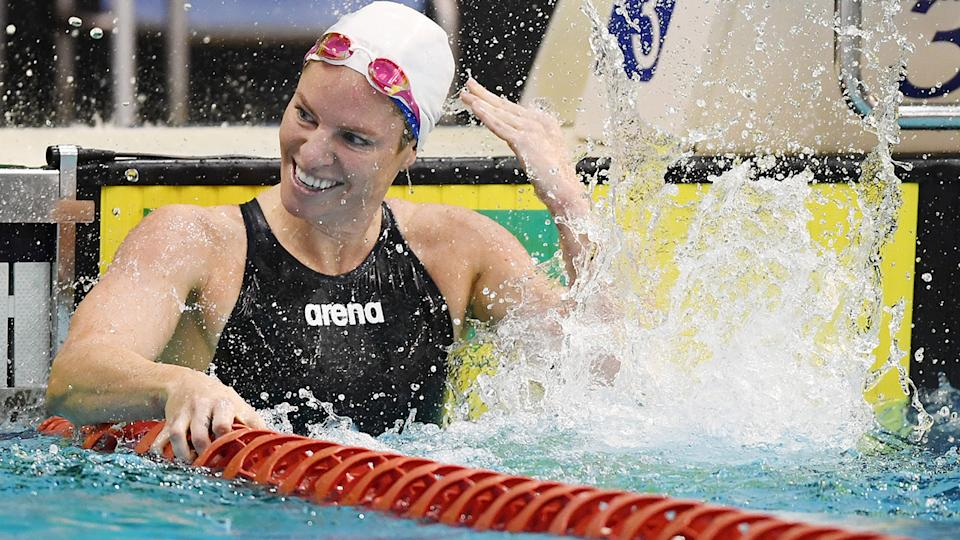 Emily Seebohm celebrated after earning her spot in her fourth Olympic Games. (Photo by Mark Brake/Getty Images)