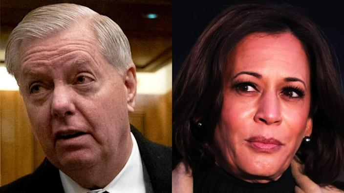 South Carolina Sen. Lindsey Graham (left) says Vice President Kamala Harris (right) could be impeached from office for supporting donations to the Minnesota Freedom Fund last summer, which bailed out Black Lives Matter protesters amid the fallout over the May 2020 death of George Floyd. (Photos by Stefani Reynolds – Pool/Getty Images and Michael M. Santiago/Getty Images)