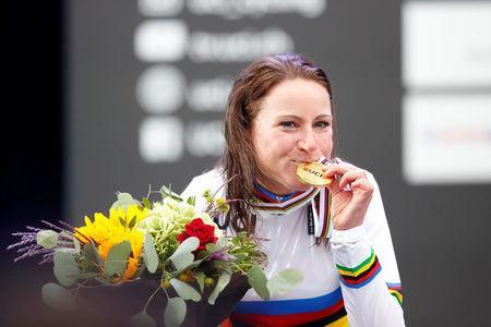 Cycling - UCI Road World Championships - Women Individual Time Trial - Bergen, Norway - September 19, 2017 - Gold medalist Annemiek van Vleuten reacts on the podium. NTB Scanpix/Cornelius Poppe via REUTERS