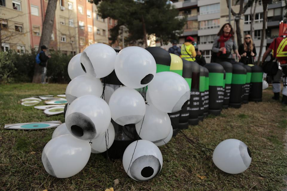 BARCELONA, SPAIN - DECEMBER 18: Tsunami Democratic's protest material, rubber bullets and eyes, pictured ahead of the La Liga football match between FC Barcelona and Real Madrid on December 18, 2019 in Barcelona, Spain. Five people lost an eye as a consequence of the rubber bullets, prohibited in Catalonia, but used by the Spanish Police against unarmed civilians. (Photo by Miquel Benitez/Getty Images)