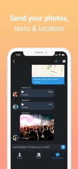 Screenshot of the Zello Walkie Talkie app showing sending photos, text, and videos