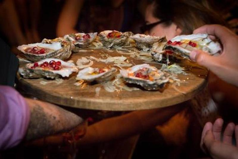 Bluepoint oysters with pomegranate at Mignonette.