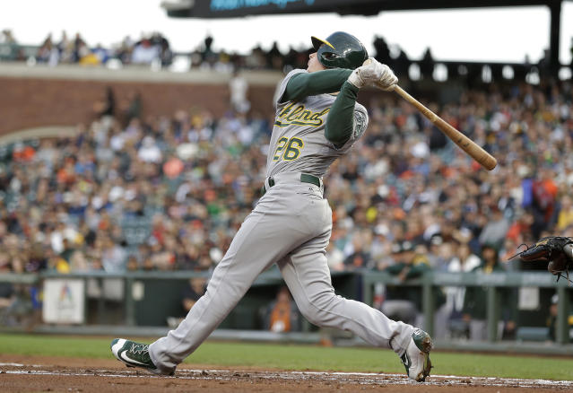 FILE - In this Aug. 2, 2017, file photo, Oakland Athletics' Matt Chapman watches his RBI double off San Francisco Giants starting pitcher Matt Moore during the second inning of a baseball game, in San Francisco. Chapman hit 14 homers in 84 games as a rookie. (AP Photo/Eric Risberg, File)