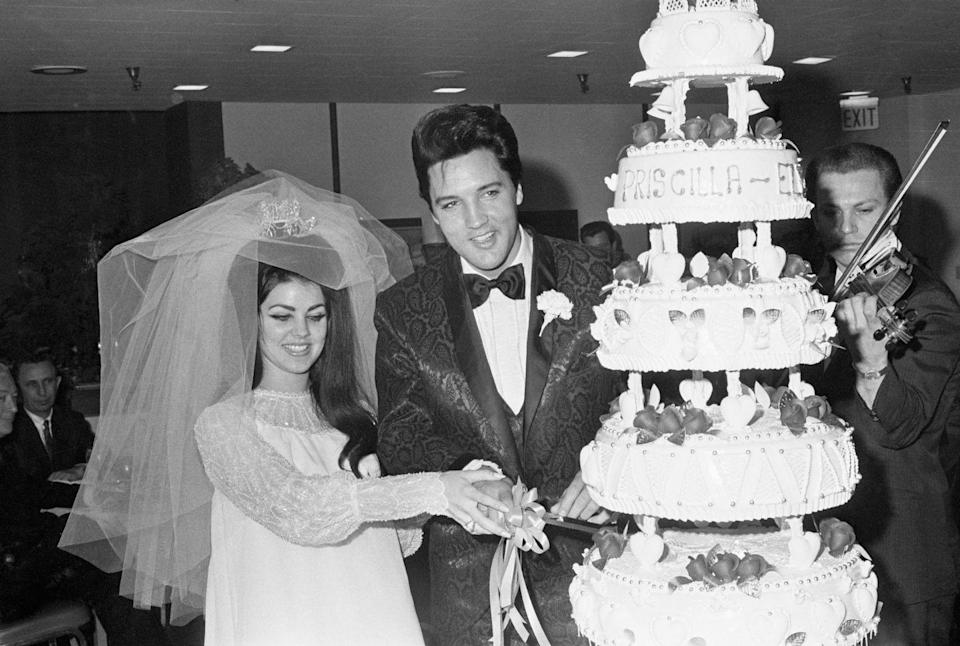 <p>The famous rocker and actress cut the cake at their Vegas nuptials on May 5th, 1967. The couple stayed married for six years before they divorced in 1973. Elvis died in 1977, while Priscilla married again in 1984. </p>