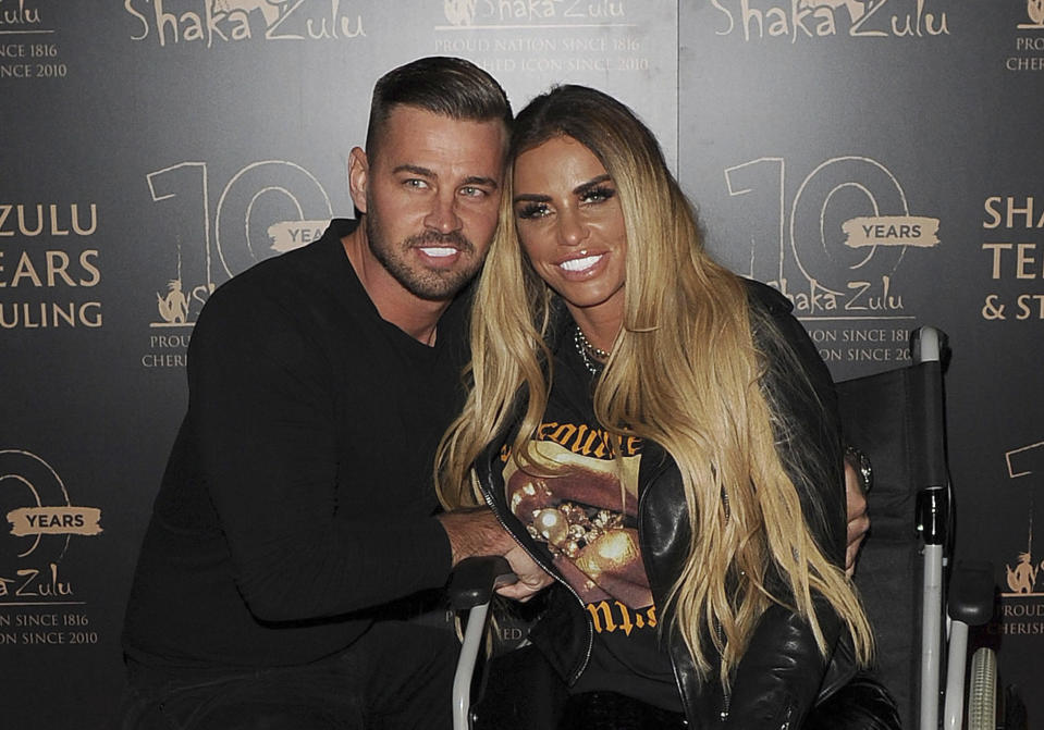 APRIL 21st 2021: Fashion model and media personality Katie Price announces her engagement to be married to boyfriend Carl Woods. - File Photo by: zz/KGC-305/STAR MAX/IPx 2020 9/10/20 Katie Price and her boyfriend Carl Woods at the 10th Anniversary Celebration for Shaka Zulu Restaurant held on September 10, 2020 in Camden. Katie is confined to a wheelchair after suffering two broken ankles in an accidental fall from a 25 foot wall at a theme park while on holiday in Turkey earlier in the summer. (London, England, UK)