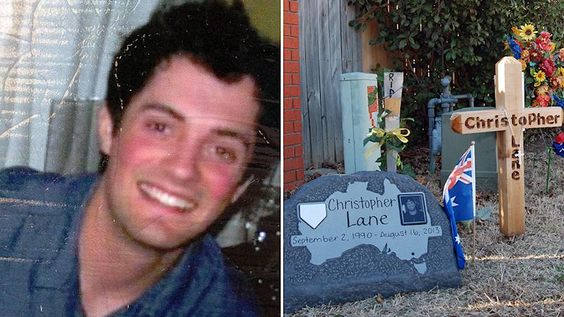Picture of Australian Chris Lane was murdered in 2013 in Duncan Oklahoma, and aa picture of a makeshift memorial for him.