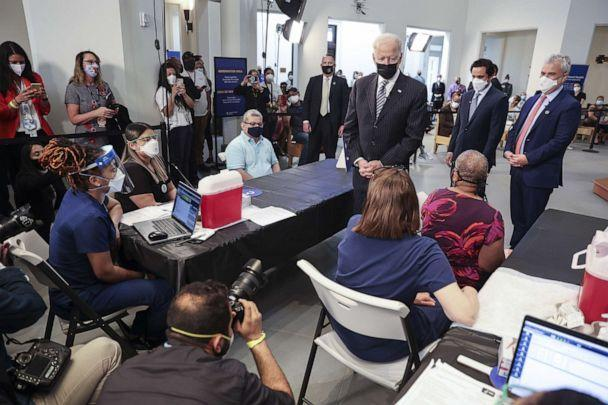 PHOTO: President Joe Biden speaks with people at a COVID-19 vaccination site at Virginia Theological Seminary in Alexandria, Va. on April 6, 2021. (Bloomberg via Getty Images, FILE)