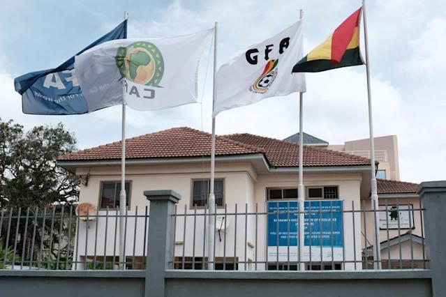 FILE PHOTO: Flags flutter next to the premises of Ghana Football Association in Accra