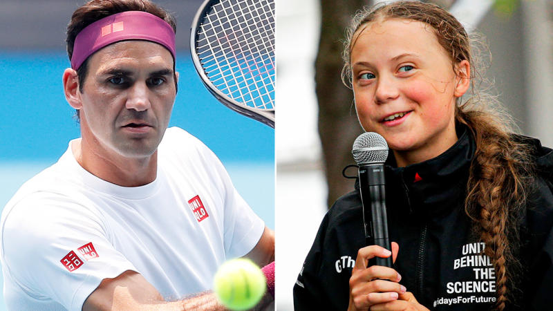 Roger Federer and Greta Thunberg, pictured here in 2019.