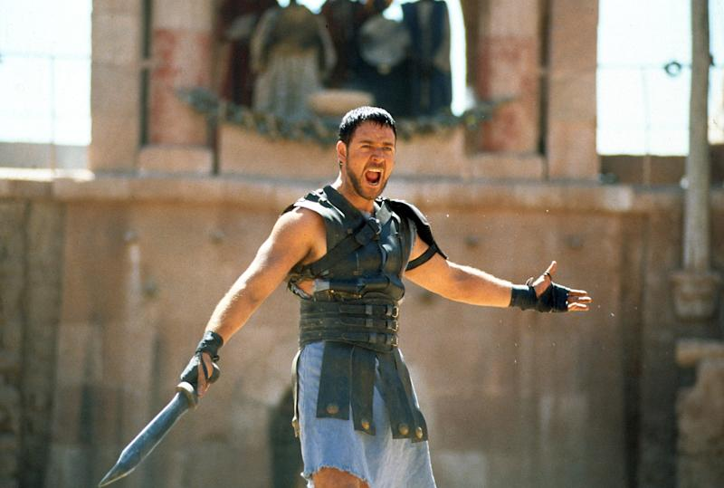 Russell Crowe with sword in a scene from the film 'Gladiator', 2000. (Photo by Universal/Getty Images)