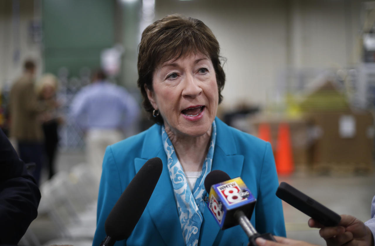"<p> FILE - In this Thursday, Aug. 17, 2017, file photo, U.S. Sen. Susan Collins, R-Maine, speaks to members of the media while attending an event in Lewiston, Maine. Collins said Sunday, Sept. 24, she finds it ""very difficult"" to envision backing the last-chance GOP bill repealing the Obama health care law. That likely opposition leaves the Republican drive to fulfill one of the party's premier campaign promises dangling by a thread. (AP Photo/Robert F. Bukaty, File) </p>"