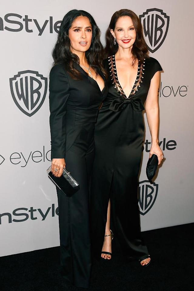 <p>Salma Hayek and Ashley Judd, who both accused Harvey Weinstein of sexual harassment, attend the party hosted by Warner Bros. Pictures and InStyle at the Beverly Hilton Hotel. (Photo: Frazer Harrison/Getty Images) </p>