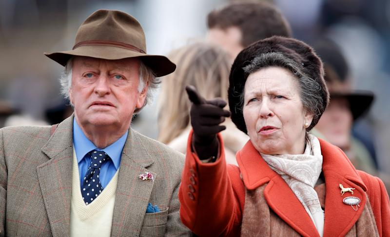 Andrew Parker-Bowles and Princess Anne, Princess Royal attend day 1 'Champion Day' of the Cheltenham Festival 2020 at Cheltenham Racecourse on March 10, 2020 in Cheltenham, England.