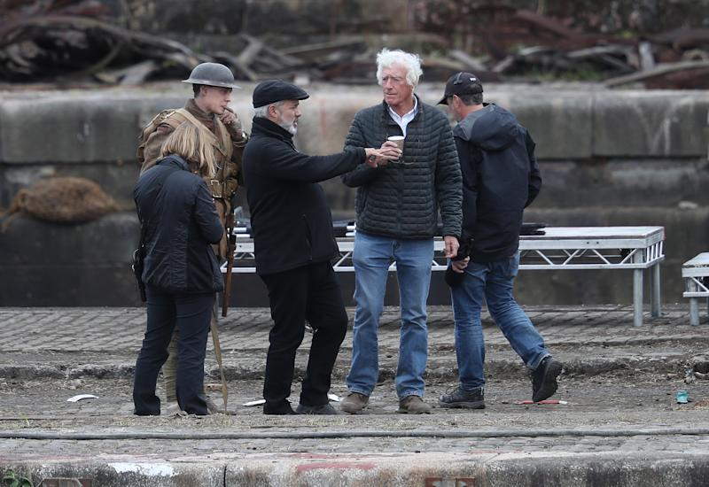Director Sam Mendes and Cinematographer Roger Deakins on set of Sam Mendes new film 1917 during filming at Govan Docks in Glasgow.PRESS ASSOCIATION Photo. Picture date:Tuesday June 12, 2019. Photo credit should read: Andrew Milligan/PA Wire (Photo by Andrew Milligan/PA Images via Getty Images)