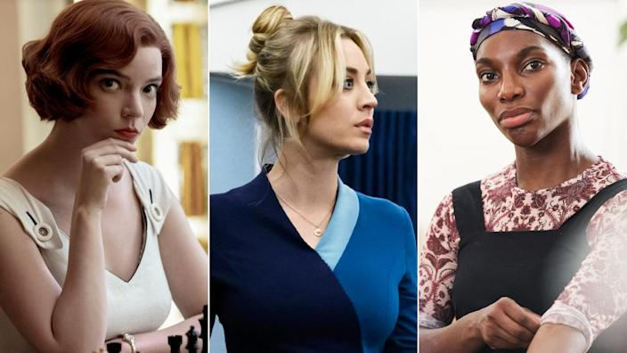 Promotional stills from The Queen's Gambit, The Flight Attendant and I May Destroy You
