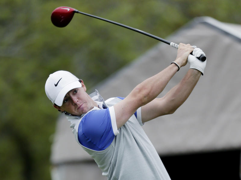 Rory McIlroy, of Northern Ireland, watches his tee shot on the 1st hole during the final round of the Texas Open golf tournament, Sunday  April 7, 2013, in San Antonio.  (AP Photo/Eric Gay)