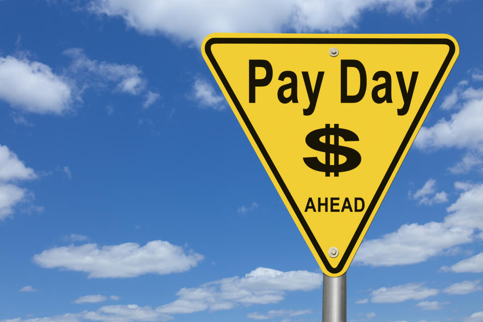 Pay Day Ahead Road Sign.  This sign is useful and relevant to any topic having to do with getting paid money for anything.