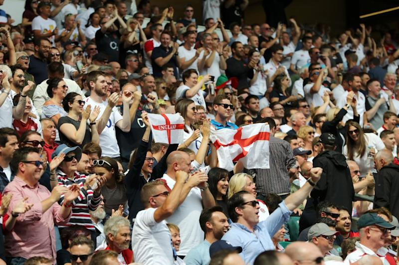 England fans at Twickenham Stadium. (Photo by David Rogers - RFU/The RFU Collection via Getty Images)
