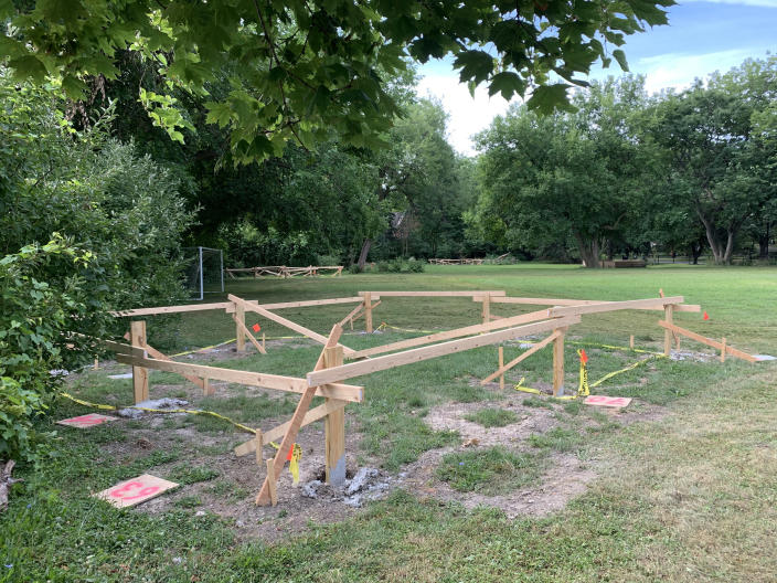 Construction begins on an outdoor learning pavilion at the Detroit Waldorf School. (Erin Einhorn / NBC News)