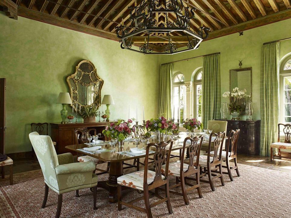 "<p>Venetian plaster in a custom lettuce green shade envelops the dining room of a 1920s Palm Beach mansion designed by <a href=""https://susanzisesgreen.com"" rel=""nofollow noopener"" target=""_blank"" data-ylk=""slk:Susan Zises Green"" class=""link rapid-noclick-resp"">Susan Zises Green</a>. The antique dining armchairs are covered in a <a href=""http://www.christopherhyland.com"" rel=""nofollow noopener"" target=""_blank"" data-ylk=""slk:Christopher Hyland"" class=""link rapid-noclick-resp"">Christopher Hyland</a> fabric. </p><p><a class=""link rapid-noclick-resp"" href=""https://www.valspar.com/en/colors/browse-colors/lowes/green/fresh-pear-6007-7c"" rel=""nofollow noopener"" target=""_blank"" data-ylk=""slk:Get the Look"">Get the Look</a></p>"