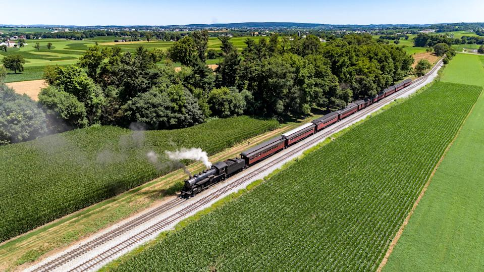 See Pennsylvania's Amish country with a ride on the Strasburg Railroad.