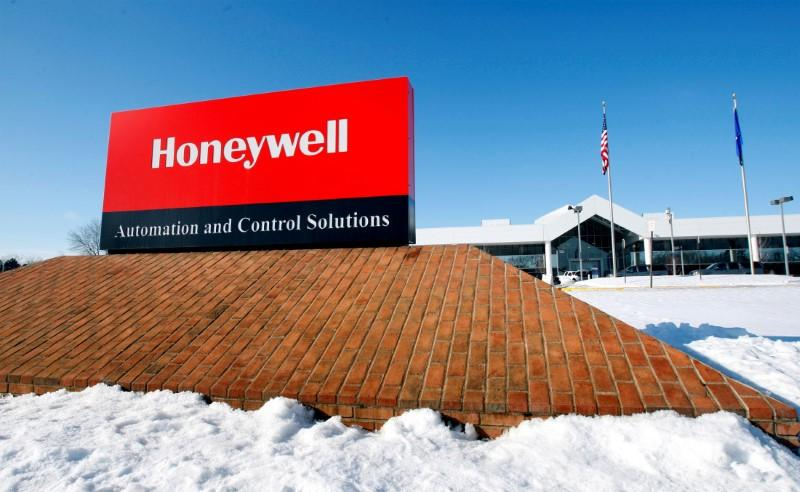 FILE PHOTO: View of corporate sign outside the Honeywell International Automation and Control Solutions manufacturing plant in Golden Valley