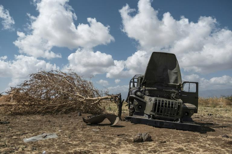 A damaged military truck belonging to Tigrayan forces lies abandoned in a field near Ayasu Gebriel, a village east of Alamata