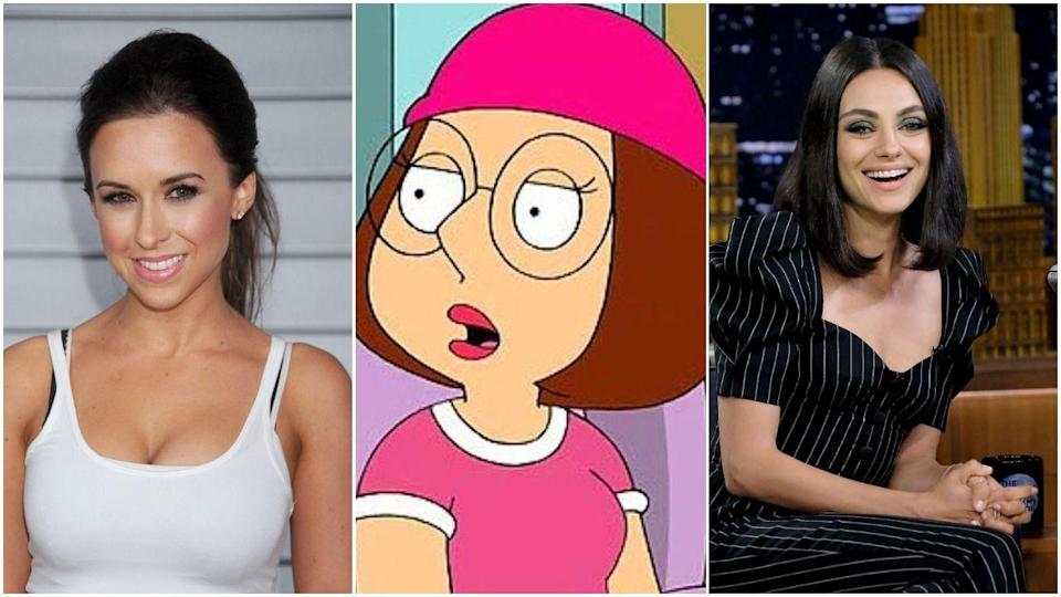 """<p>You wouldn't know this unless you were mining IMDb on a verrry chill Monday night (hello, me), but Meg was originally played by Lacey Chabert before being replaced by Mila Kunis. Apparently, Lacey was <a href=""""https://screenrant.com/lacey-chabert-family-guy-meg-departure-reason/"""" rel=""""nofollow noopener"""" target=""""_blank"""" data-ylk=""""slk:too busy with school"""" class=""""link rapid-noclick-resp"""">too busy with school</a> and <em>Party of Five,</em> two things of equal importance, to be sure. </p>"""