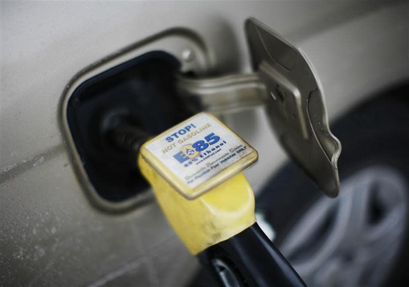 File photo of E85 Ethanol biodiesel fuel being pumped into a vehicle at a gas station in Nevada, Iowa
