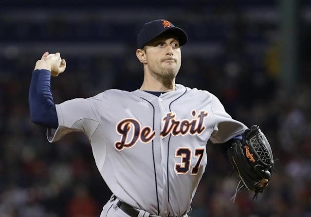 Detroit Tigers' Max Scherzer throws in the first inning during Game 2 of the American League baseball championship series against the Boston Red Sox Sunday, Oct. 13, 2013, in Boston. (AP Photo/Matt Slocum)