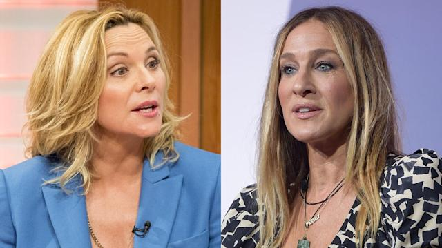 Kim Cattrall, left, reacts to Sarah Jessica Parker's comments about <em>Sex and the City 3</em> stalling out. (Photo: Shutterstock/Getty Images)