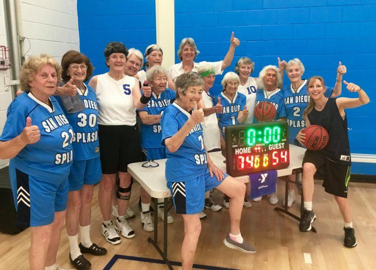 The San Diego Splash celebrate after qualifying for 2017 Nationals (San Diego Senior Women's Basketball Association - SWBA/Facebook)