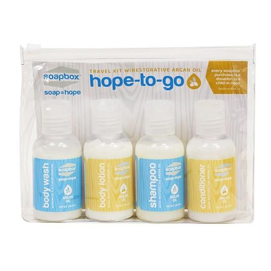 "<p>Let's face it. Hotel shampoo is the worst. Help your favorite traveler battle dry hair by purchasing this <a href=""https://soapboxsoaps.com/hope-to-go-kit"">pintsize travel kit</a>. The kit comes with shampoo, conditioner, body wash, and lotion in 2-ounce bottles, so they'll have no setbacks in the security line. The best part? With every kit sold, a month of clean water will be given to a person in need through a partnership with <a href=""http://splash.org/achildsright"">Splash</a>. <i>(Photo: Soapbox)</i></p><p><i>Cost: $7.99</i></p>"