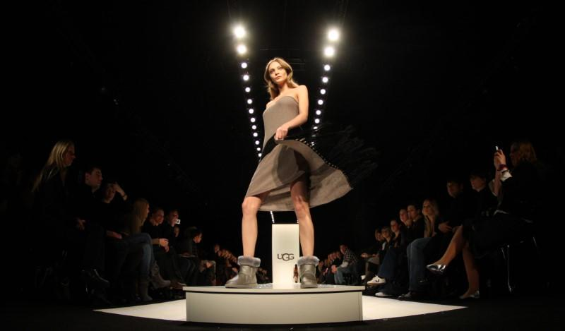 A model presents a creation by UGG at the Berlin Fashion Week 2009
