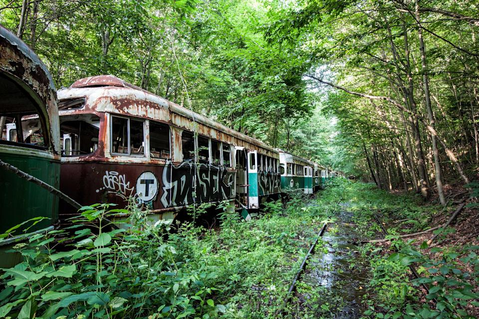 <p>Abandoned trolley graveyard in Pennsylvania. (Photo: Abandoned America/Caters News) </p>