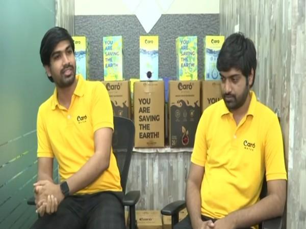 Founders of the Hyderabad-based start-up 'Caro Water' (Photo/ANI)