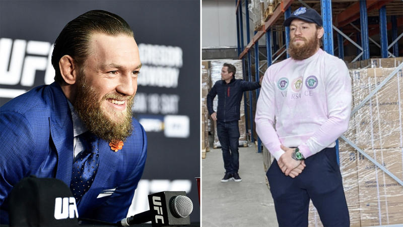 Conor McGregor paid and delivered (pictured right) medical equipment for surgeries in need during the coronavirus pandemic in Ireland. (Getty Images/Twitter)