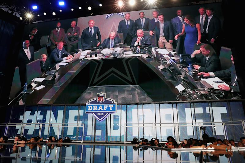 ARLINGTON, TX - APRIL 26: The Dallas Cowboys war room is seen on a video board during the first round of the 2018 NFL Draft at AT&T Stadium on April 26, 2018 in Arlington, Texas. (Photo by Tom Pennington/Getty Images)
