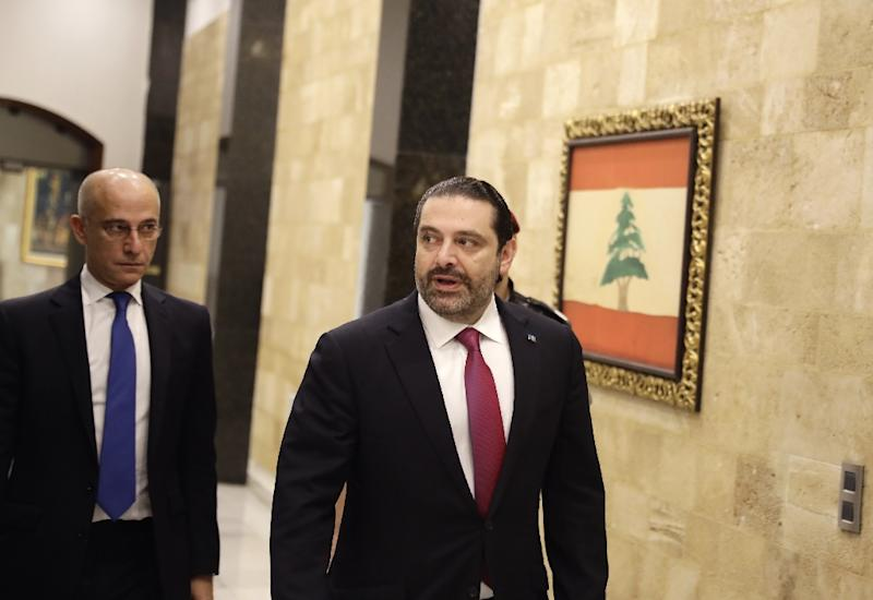 Lebanese Prime Minister Saad Hariri arrives to attend a cabinet meeting at the presidential palace of Baabda, east of the capital Beirut, on December 5, 2017